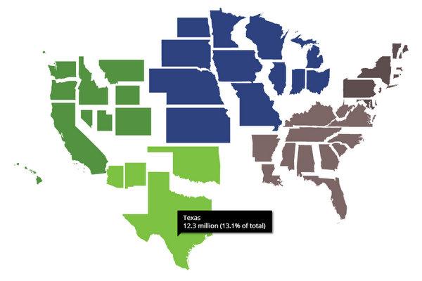 USA cartogram